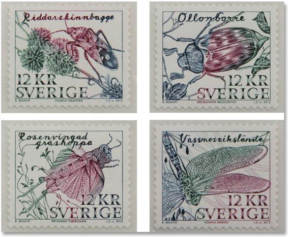 瑞典邮票上的昆虫